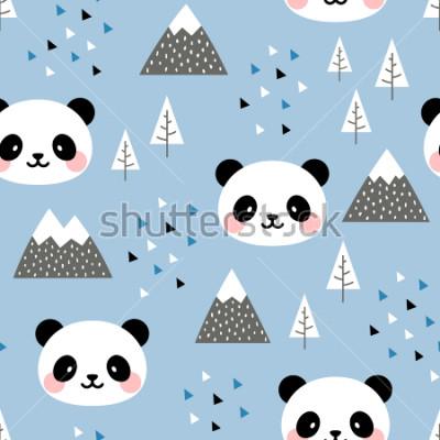 Canvastavlor Panda sömlösa mönster bakgrund, skandinaviska Glad söt panda i skogen mellan berg träd och moln, tecknad panda björnar vektor illustration för barn nordiska bakgrund med triangel prickar