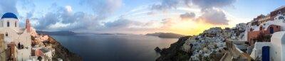 Canvastavlor Panorama à Oia à Santorin, les Kykladerna en Grèce