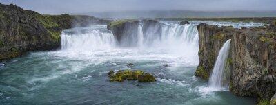Canvastavlor panorama av vattenfall med moln i Island