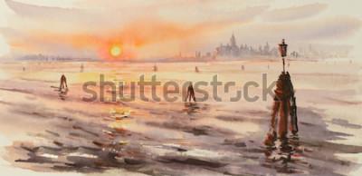 Canvastavlor Panorama av Venedig Laguna vid solnedgången. Bild skapad med akvareller.