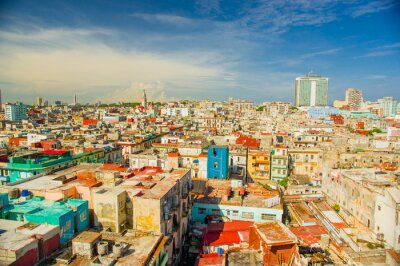 Canvastavlor Panorama Havanna stad Vedado District
