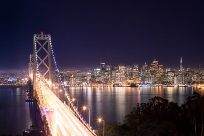 Canvastavlor Panorama över San Francisco Bay Bridge e di notte