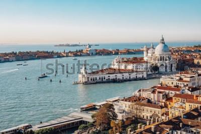 Canvastavlor Panoramautsikt över Venedig från San Marco Campanile. Grand Canal, Basilica Santa Maria della Salute. Italien