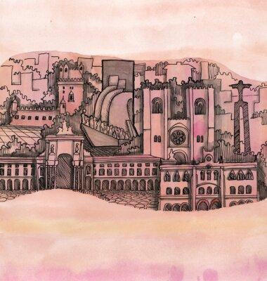 Canvastavlor panoramavy över Lissabon stad handritad på tapeten isolerade på färg bakgrunden