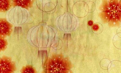 Canvastavlor Papper Lantern med blommor