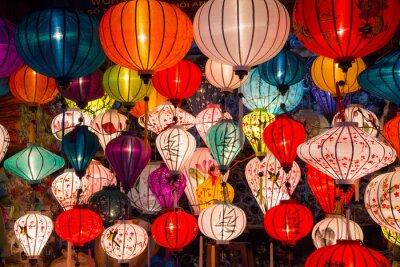Canvastavlor Papperslyktor på gatorna i gamla asiatisk stad