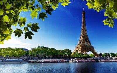 Canvastavlor Paris Eiffel france flod strand träd