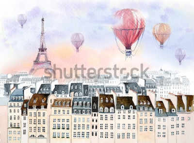 Canvastavlor Paris med varmluftsballong