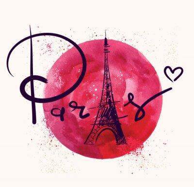 Canvastavlor Paris och röd cirkel