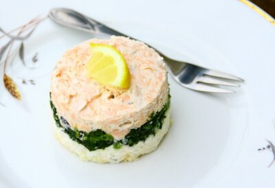 Canvastavlor pastej de saumon, épinards