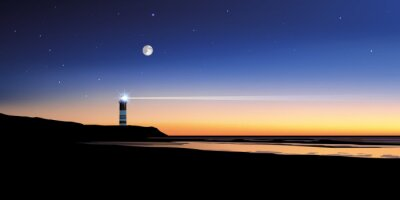 Canvastavlor Paysage phare-mer