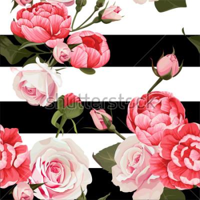 Canvastavlor Peony and Roses Vector Seamless Pattern # 2 Svartvita Stripes Flowered Texture Background