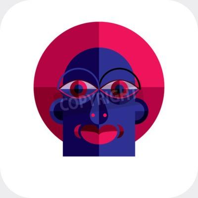 Canvastavlor Personlighet ansikte färgrik vektorillustration tillverkad av geometriska figurer. Platt design image, kubism stil.