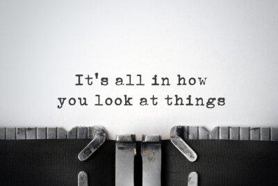 Canvastavlor Perspektiv. Inspirera citationstecken skrivit på en gammal skrivmaskin.