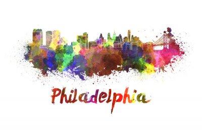 Canvastavlor Philadelphia horisont i vattenfärg