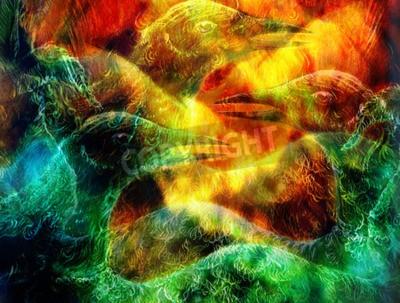 Canvastavlor Phoenix fågel collage