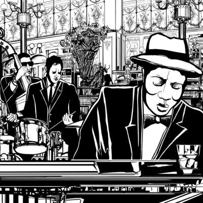 Canvastavlor piano-Jazz band i en restaurang