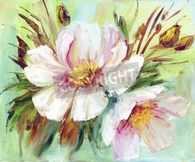 Canvastavlor Pink and white peony background. Oil painting floral texture