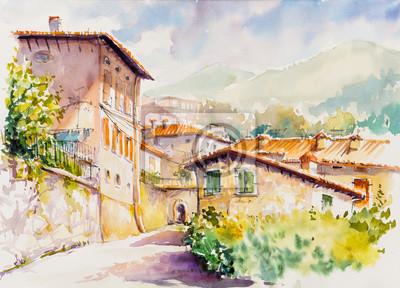 Canvastavlor Pittoresk by Vesio ovanför Lago di Garda, Lombardia-regionen i Italien. Bild skapad med akvareller.