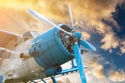 Canvastavlor plan med propeller på vackra ljus solnedgång himmel bakgrund