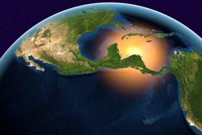 Canvastavlor Planet Earth, jorden från rymden visar Centralamerika, Belize, Costa Rica, El Salvador, Guatemala, Honduras, Nicaragua, Panama på jorden i dag tid, delar av bilden som tillhandahålls av NASA