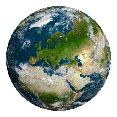 Canvastavlor Planeten jorden med moln. Europa, en del av Afrika och Asien.