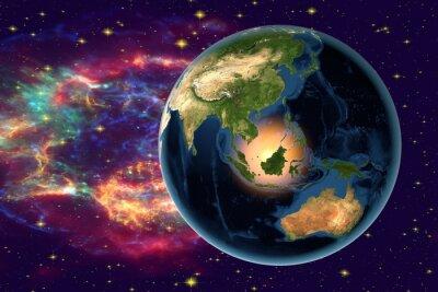 Canvastavlor Planeten Jorden på bakgrunden med stjärnor och galaxer, jorden från rymden visar Indonesien, Australien, Indien och Malaysia på jordklotet i nattetid, delar av bilden som tillhandahålls av NASA