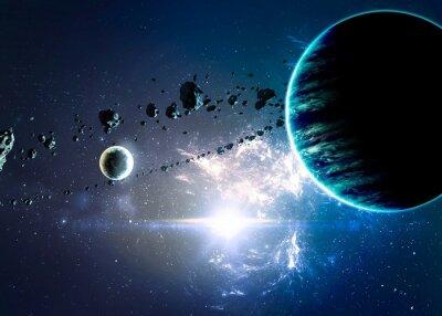 Canvastavlor Planeter över nebulosor i rymden. Delar av den här bilden