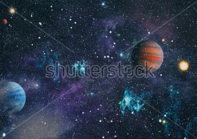 Canvastavlor planeter, stjärnor och galaxer i yttre rymden som visar skönhetsutforskningen. Element inredda av NASA