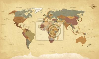 Canvastavlor Planisphere Mappemonde Vintage - Textes en français. Vecteur