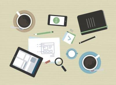 Canvastavlor Platt illustration av modern affärsmöte