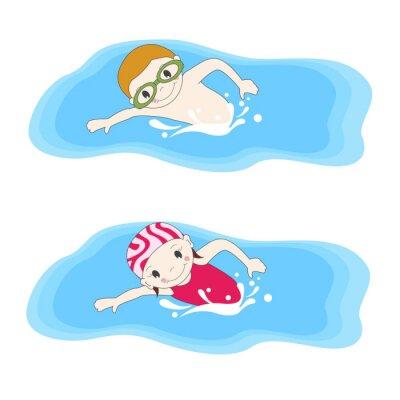 Canvastavlor Pojke och simma i poolen
