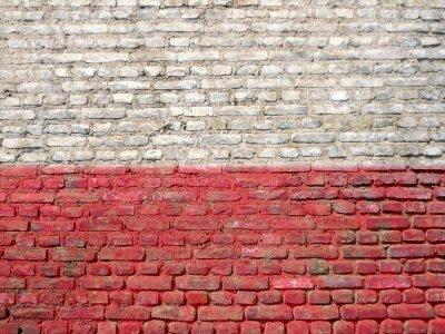 Canvastavlor Polen flaggan målad på en vägg