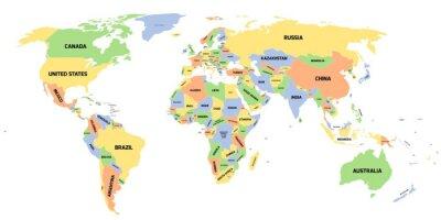 Canvastavlor Politisk karta över världen