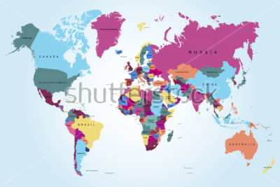 Canvastavlor Politisk världskarta