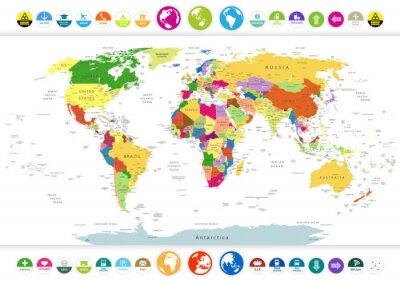 Canvastavlor Politisk världskarta med platta ikoner och glober