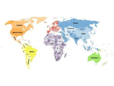 Canvastavlor Politisk världskarta på vit bakgrund.