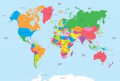 Canvastavlor Politisk världskarta vektor