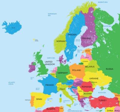 Canvastavlor Politiska kartan i Europa hög detalj