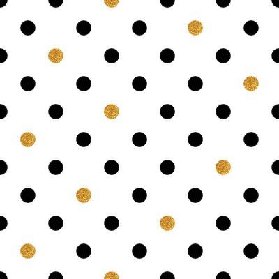 Canvastavlor Polka dot sömlös bakgrund i guld och svarta färger.