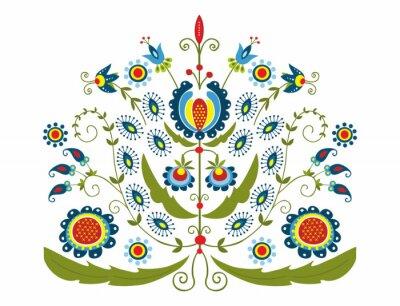 Canvastavlor Polski wzór z dekoracyjnymi kwiatami