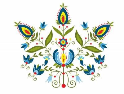 Canvastavlor Polski wzór z ozdobnymi  kwiatami