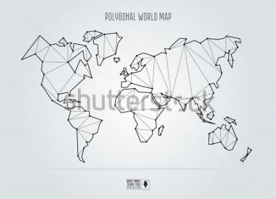 Canvastavlor Polygonal abstract world map. Vector illustration.