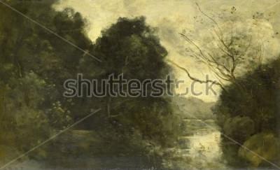 Canvastavlor Pond i skogen, av Camille Corot, 1840-75, fransk målning, olja på panel.