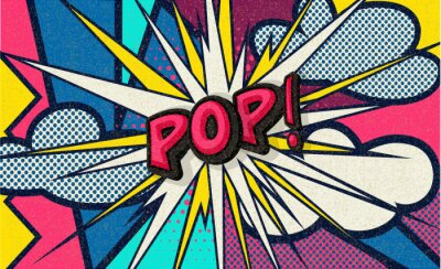 Canvastavlor Pop! Pop art funny comic speech word. Fashionable poster and banner. Social Media Connecting Blog Communication Content. Trendy and fashion color retro vintage illustration background. Easy editable.
