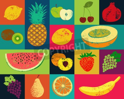 Canvastavlor Pop Art grunge utformar frukt affisch. Insamling av retro frukter. Vintage vektor uppsättning av frukt.