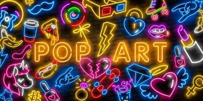 Canvastavlor Pop art icons set. Pop art neon sign. Bright signboard, light banner. Neon isolated icon, emblem. Heart, diamond, pizza, smile, hand, ice cream, star, donut and unicorn vector neon icon