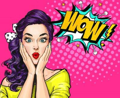 Canvastavlor Popkonst illustration, förvånad tjej.Komisk kvinna. Wow.Advertising poster. Pop Art Girl. Partyinbjudan.