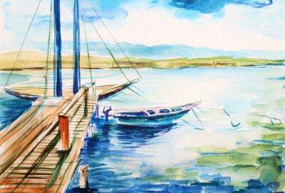 Canvastavlor Port nad jeziorem genevskim - ilustracja ręcznie malowana