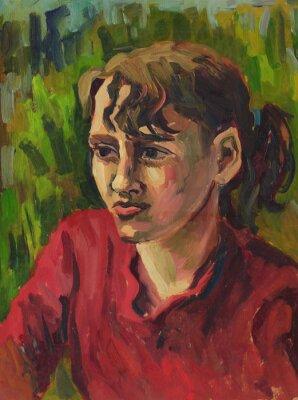 Canvastavlor Porträtt av en ung flicka. Oljemålning